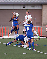 Boston Breakers forward Kyah Simon (17) heads the Breaker's second goal.  In a National Women's Soccer League Elite (NWSL) match, Sky Blue FC defeated the Boston Breakers, 3-2, at Dilboy Stadium on June 16, 2013