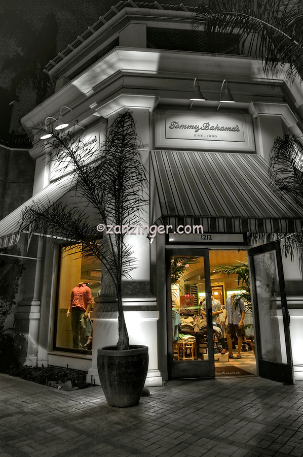Tommy Bahama's, Specialty Clothing, Restaurant, El Paseo Drive, The Gardens, Palm Desert, CA,  Dusk, Twilight, B/W, Color