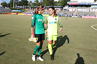 Cary, North Carolina  - Saturday August 19, 2017: Stephanie Labbe and Sabrina D'Angelo after a regular season National Women's Soccer League (NWSL) match between the North Carolina Courage and the Washington Spirit at Sahlen's Stadium at WakeMed Soccer Park. North Carolina won the game 2-0.