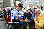 European Champion Matteo Trentin (ITA) Mitchelton-Scott  at the team presentation in Antwerp before the start of the 2019 Ronde Van Vlaanderen 270km from Antwerp to Oudenaarde, Belgium. 7th April 2019.<br /> Picture: Eoin Clarke | Cyclefile<br /> <br /> All photos usage must carry mandatory copyright credit (&copy; Cyclefile | Eoin Clarke)