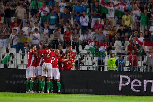 Members of team Hungary celebrate a goal against Sweden during the UEFA EURO 2012 Group E qualifier Hungary playing against Sweden in Budapest, Hungary on September 02, 2011. ATTILA VOLGYI