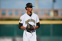 Bradenton Marauders starting pitcher Osvaldo Bido (19) during a Florida State League game against the Charlotte Stone Crabs on July 30, 2019 at LECOM Park in Bradenton, Florida.  Bradenton defeated Charlotte 2-1.  (Mike Janes/Four Seam Images)
