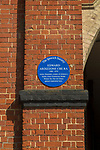 Blue plaque for artist illustrator Edward Ardizzone 1900-1979, Ipswich, Suffolk, England, UK