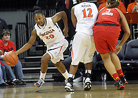 Virginia guard Faith Randolph (20) steals the ball from Maryland center Malina Howard (5) during the game Thursday in Charlottesville, VA. Virginia defeated Maryland 86-72. Photo/The Daily Progress/Andrew Shurtleff
