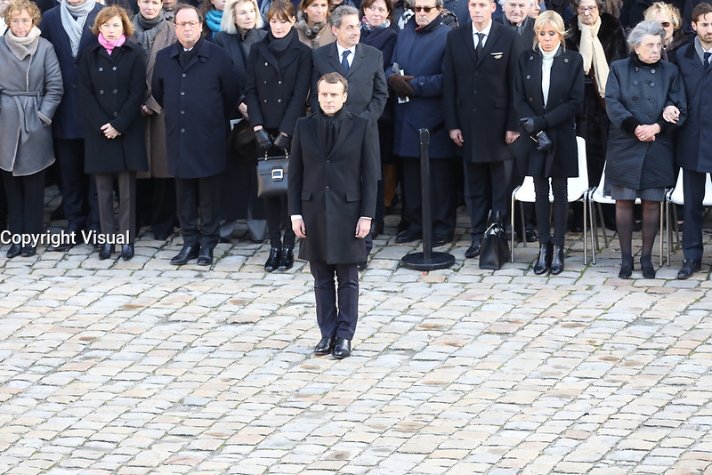 Le President de la Republique Emmanuel Macron - Hommage National ‡ JEAN D'ORMESSON - 08/12/2017 - Hotel des Invalides - Paris - France