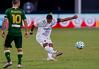13th July 2020, Orlando, Florida, USA;  Los Angeles Galaxy forward Javier Hernandez (14) shoots during the MLS Is Back Tournament between the LA Galaxy versus Portland Timbers on July 13, 2020 at the ESPN Wide World of Sports, Orlando FL.