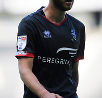 "A close up of the ""Not today, or any day"" anti racism badge on the shirt of Lincoln City's Jorge Grant<br /> <br /> Photographer Chris Vaughan/CameraSport<br /> <br /> The EFL Sky Bet League One - Milton Keynes Dons v Lincoln City - Saturday 19th September 2020 - Stadium MK - Milton Keynes<br /> <br /> World Copyright © 2020 CameraSport. All rights reserved. 43 Linden Ave. Countesthorpe. Leicester. England. LE8 5PG - Tel: +44 (0) 116 277 4147 - admin@camerasport.com - www.camerasport.com"