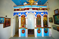 Interior of one of the many small chapels of Ioulis (Chora) . Greek Cyclades Islands