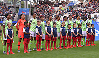 20190608 - REIMS , FRANCE : Nigerian team with Tochukwu Oluehi (1)   Osinachi Ohale (3)   Ngozi Ebere (4)  Onome Ebi (5)   Asisat Oshoala   Desire Oparanozie (9)   Rita Chikwelu (10)   Ngozi Okobi (13)   Faith Michael (14)   Francisca Ordega (17)   Halimatu Ayinde (18)    pictured during the female soccer game between Norway – the Grashoppene - and Nigeria – The Super Falcons - , the first game for both teams in group A during the FIFA Women's  World Championship in France 2019, Saturday 8 th June 2019 at the Auguste Delaune Stadium in Reims , France .  PHOTO SPORTPIX.BE | DIRK VUYLSTEKE