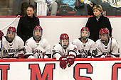Dani Krzyszczyk (Harvard - 10), Liz Keady (Harvard - Assistant Coach), Audrey Warner (Harvard - 11), Haley Mullins (Harvard - 26), Karly Heffernan (Harvard - 27), Katey Stone (Harvard - Head Coach) - The visiting Boston College Eagles defeated the Harvard University Crimson 2-0 on Tuesday, January 19, 2016, at Bright-Landry Hockey Center in Boston, Massachusetts.