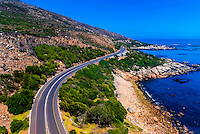 Aerial view of coastal road from Cape Town to Camps Bay, South Africa.