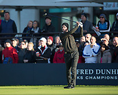 6th October 2017, Carnoustie Golf Links, Carnoustie, Scotland; Alfred Dunhill Links Championship, second round; England's Luke Donald tees off on the first hole during the second round on the Championship Links, Carnoustie at the Alfred Dunhill Links Championship