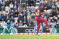 Chris Gayle (West Indies) pulls Chris Wakes (England) behind square during England vs West Indies, ICC World Cup Cricket at the Hampshire Bowl on 14th June 2019