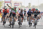 Italian National Champion Elia Viviani (ITA) Deceuninck-Quick Step outsprints Fernando Gaviria (COL) UAE Team Emirates and Sam Bennett (IRL) Bora-Hansgrohe to win Stage 5 of the 2019 UAE Tour, running 181km form Sharjah to Khor Fakkan, Dubai, United Arab Emirates. 28th February 2019.<br /> Picture: LaPresse/Fabio Ferrari | Cyclefile<br /> <br /> <br /> All photos usage must carry mandatory copyright credit (&copy; Cyclefile | LaPresse/Fabio Ferrari)