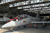 - final assembly line of advanced military training aircraft Aermacchi MB 339 at the plant of Venegono (Varese)....- linea di montaggio finale dell'aereo da addestramento avanzato Aermacchi MB 339 presso lo stabilimento di Venegono (Varese)