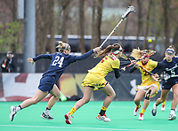 College Park, MD - April 19, 2018: Maryland Terrapins Kali Hartshorn (16) wins the faceoff during game between Penn St. and Maryland at  Field Hockey and Lacrosse Complex in College Park, MD.  (Photo by Elliott Brown/Media Images International)