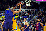League ACB-ENDESA 2017/2018 - Game: 12.<br /> FC Barcelona Lassa vs Herbalife Gran Canaria: 77-88.<br /> Kevin Seraphin vs Anzejs Pasecniks.