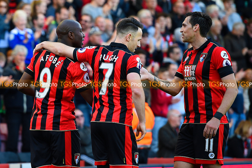 Benik Afobe of AFC Bournemouth left celebrates his goal with Marc Pugh and Charlie Daniels during AFC Bournemouth vs Middlesbrough, Premier League Football at the Vitality Stadium on 22nd April 2017