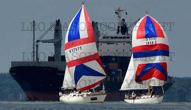 COWES, ENGLAND - AUGUST 10: Aberdeen Asset Management COWES WEEK Regatta Sports Boat yachts on August 10, 2016 in Cowes, England. (Photo by Leo Mason Split Second/Corbis via Getty Images)