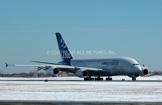 WWW.ACEPIXS.COM . . . . .....March 19 2007, New York City....The World's largest aircraft, the  Airbus A380 landed at John F. Kennedy Airport. The A380's maiden flight to the USA was made by Lufthansa and Airbus.  ....Please byline: Kristin Callahan - ACEPIXS.COM..... *** ***..Ace Pictures, Inc:  ..Philip Vaughan (646) 769 0430..e-mail: info@acepixs.com..web: http://www.acepixs.com