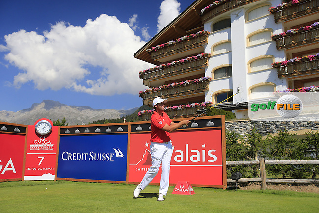 Martin Rominger (SUI) tees off the 7th tee during Thursday's Round 1 of the 2013 Omega European Masters held at Crans Montana Golf Club, Crans-Sur-Sierre Switzerland. 5th September 2013.<br /> Picture: Eoin Clarke www.golffile.ie