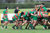 Alamoti Funaki takes the ball from Luke Rosa as the Waiuku forwards maul their way upfield. Counties Manukau Premier Club rugby game between Pukekohe and Waiuku, played at Colin Lawrie Fields, Pukekohe on Saturday April 14th, 2018. Pukekohe won the game 35 - 19 after leading 9 - 7 at halftime.<br /> Pukekohe Mitre 10 Mega -Joshua Baverstock, Sione Fifita 3 tries, Cody White 3 conversions, Cody White 3 penalties.<br /> Waiuku Brian James Contracting - Lemeki Tulele, Nathan Millar, Tevta Halafihi tries,  Christian Walker 2 conversions.<br /> Photo by Richard Spranger