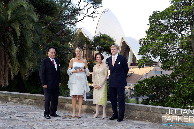 Crown Prince Willem-Alexander & Crown Princess Maxima of the Netherlands six-day tour of Australia..Attending a Dinner at Government House, Sydney, accompanied by the Governor of NSW Prof Marie Bashir..