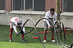 Tavion Smith (35) and Spencer Waseem (29) work the ropes at Rogers Field during Spring football practice at Washington State University under new head football coach, Mike Leach, on March 24, 2012.