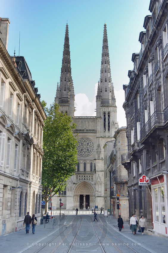 Cathedral Saint Andre. Rue Vital Carles. Place Pey Berland. Bordeaux city, Aquitaine, Gironde, France