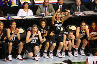 6 April 2008: Stanford Cardinal (L-R) assistant coach Kate Paye, Jillian Harmon, Jeanette Pohlen, Cissy Pierce, Morgan Clyburn, Hannah Donaghe, Ashley Cimino, and Melanie Murphy during Stanford's 82-73 win against the Connecticut Huskies in the 2008 NCAA Division I Women's Basketball Final Four semifinal game at the St. Pete Times Forum Arena in Tampa Bay, FL.