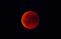 The full red blood moon as seen from Denmark in juli 2018.