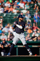 Detroit Tigers second baseman Dawel Lugo (18) at bat during a Grapefruit League Spring Training game against the Baltimore Orioles on March 3, 2019 at Ed Smith Stadium in Sarasota, Florida.  Baltimore defeated Detroit 7-5.  (Mike Janes/Four Seam Images)