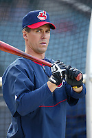 Travis Fryman of the Cleveland Indians before a 2002 MLB season game against the Los Angeles Angels at Angel Stadium, in Los Angeles, California. (Larry Goren/Four Seam Images)