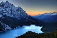 Sunset over Peyto Lake, Banff National Park, Alberta