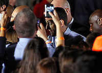 Republican vice presidential nominee Paul Ryan greets the crowd during a campaign stop Thursday evening at the Crutchfield Corporation in Albemarle County, Va.