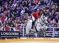 OMAHA, NEBRASKA - MAR 30: Jamie Barge rides Luebbo during the FEI World Cup Jumping Final II at the CenturyLink Center on March 31, 2017 in Omaha, Nebraska. (Photo by Taylor Pence/Eclipse Sportswire/Getty Images)
