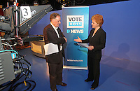 07/02/'11 TV3's Vincent Browne and Ursula Halliganpictured in the TV3 Studios rehearsing for tomorrow night's party leader's debate...Picture Colin Keegan, Collins.****NO REPRODUCTION FEE FOR PIC****