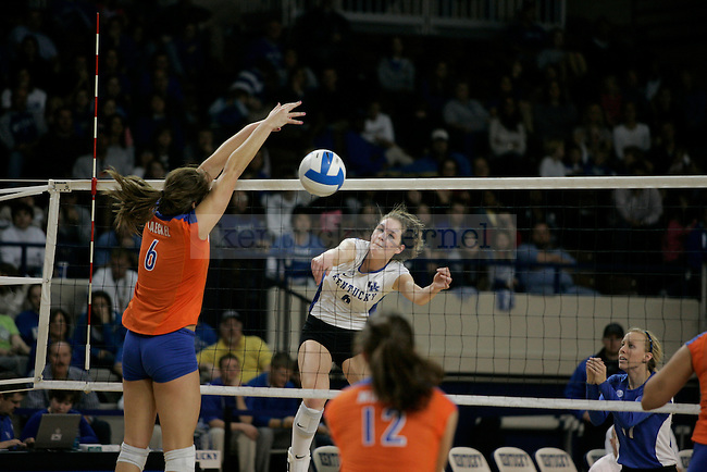 Middle Blocker Lauren Rapp spikes the ball during the UK volleyball game against Florida at Memorial Coliseum on Sunday, Nov. 22, 2009. No. 10 UK lost to No. 13 Florida (3-1). Photo by Adam Wolffbrandt | Staff