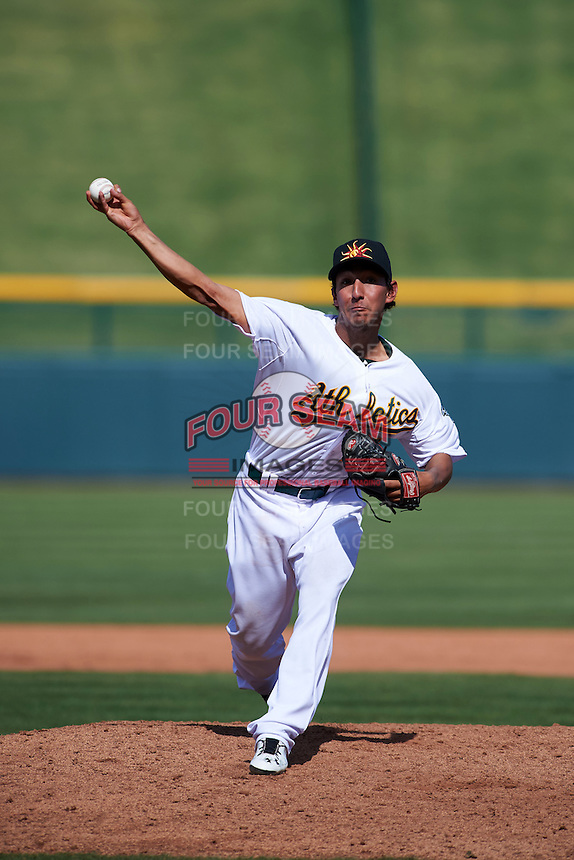 Mesa Solar Sox pitcher Aaron Kurcz (74) delivers a pitch during an Arizona Fall League game against the Glendale Desert Dogs on October 14, 2015 at Sloan Park in Mesa, Arizona.  Glendale defeated Mesa 7-6.  (Mike Janes/Four Seam Images)