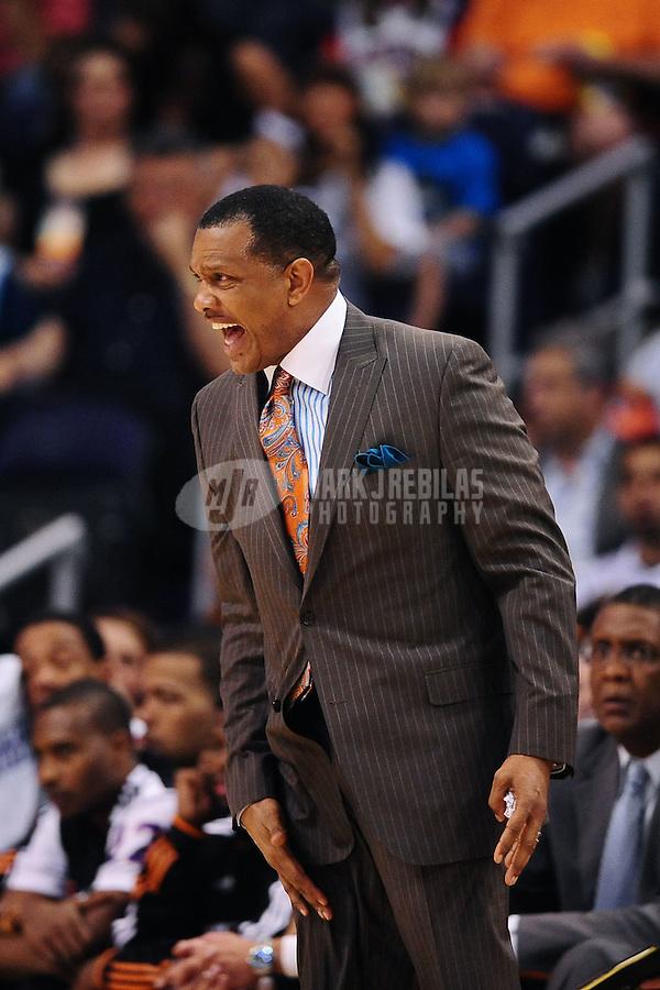 Mar. 30, 2011; Phoenix, AZ, USA; Phoenix Suns head coach Alvin Gentry yells against the Oklahoma City Thunder at the US Airways Center. Mandatory Credit: Mark J. Rebilas-.
