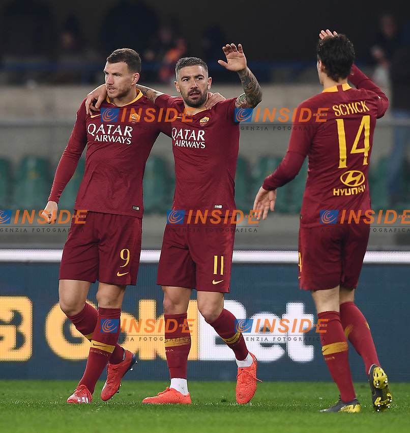 Aleksandar Kolarov of AS Roma (C), celebrates with Edin Dzeko and Patrik Schick after scoring goal of 0-3 <br /> Verona 8-2-2019 Stadio Bentegodi Football Serie A 2018/2019 Chievo Verona - AS Roma <br /> Foto Image Sport / Insidefoto
