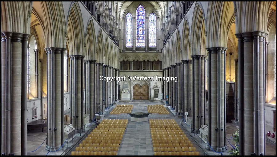 BNPS.co.uk (01202 558833)<br /> Pic: VertechImaging/BNPS<br /> <br /> The drone was used to capture inside Salisbury Cathedral.<br /> <br /> These incredible images show Salisbury Cathedral like it's never been seen before - from the skies.<br /> <br /> Canny cathedral staff came up with the novel idea of using a drone to survey hard-to-reach parts of the 13th century building including its enormous 400ft spire, the tallest in Britain.<br /> <br /> Using the drone's onboard camera they were able to record high quality footage of both the outside and inside of the 795-year-old medieval building.<br /> <br /> As well as being a great help to staff, who have an ongoing battle to repair the building, the footage gives a birds-eye view of the cathedral, considered one of Britain's most important historical buildings.