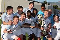 England's Josh Tymon (No 4 - Bottom left) celebrates winning the Toulon Tournament during England Under-18 vs Ivory Coast Under-20, Toulon Tournament Final Football at Stade de Lattre-de-Tassigny on 10th June 2017