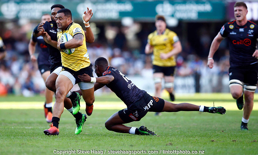 DURBAN, SOUTH AFRICA - JUNE 01: Ngani Laumape of the Hurricanes on attack during the Super Rugby match between Cell C Sharks and Hurricanes at Jonsson Kings Park Stadium in Durban, South Africa on Saturday, 1 June 2019. Photo by Steve Haag / stevehaagsports.com
