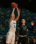 Idaho's Isabelle Hadden shoots as Portland State's Tatiana Streum defends in a women's Big Sky Tournament semi-final game held at the Reno Events Center on Friday, March 9, 2018 in Reno, Nevada.