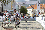 The German team arrive at sign on before the start of the Women Elite Road Race of the 2018 UCI Road World Championships running 156.2km from Kufstein to Innsbruck, Innsbruck-Tirol, Austria 2018. 29th September 2018.<br /> Picture: Innsbruck-Tirol 2018 | Cyclefile<br /> <br /> <br /> All photos usage must carry mandatory copyright credit (&copy; Cyclefile | Innsbruck-Tirol 2018)