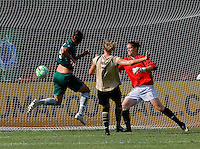 Saint Louis Athletica defender Nikki Cross (19) scores past FC Gold Pride goalkeeper Nicole Barnhart (1) during a WPS match at Anheuser-Busch Soccer Park, in St. Louis, MO, July 26, 2009.  The match ended in a 1-1 tie.