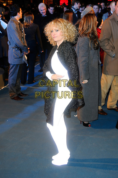 "ALISON GOLDFRAPP .At the ""Tron: Legacy"" UK Film Premiere, Empire cinema, Leicester Square, London, England, UK, .December 5th 2010..full length white shiny catsuit bodysuit body suit stocking black cape shoes wedges side .CAP/CAS.©Bob Cass/Capital Pictures."