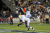 1 October 2011:  FIU tight end Jonathan Faucher (30) pulls in a reception over Duke safety August Campbell (32) for a touchdown in the first quarter as the Duke University Blue Devils defeated the FIU Golden Panthers, 31-27, at FIU Stadium in Miami, Florida.