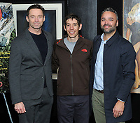 "NEW YORK - DECEMBER 5: L-R:  Actor Hugh Jackman, climber Alex Honnold and producer Evan Hayes attend a screening of National Geographic Documentary Films ""Free Solo"" at the Walter Reade Theater on December 5, 2018 in New York City. (Photo by Stephen Smith/National Geographic/PictureGroup)"